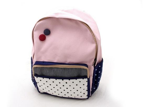 Mochila Escolar Facultad Modelo Rosa Con Azul
