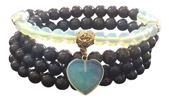 Japamala Pedra Natural Lapis Lazuli C/ Pedra Da Lua