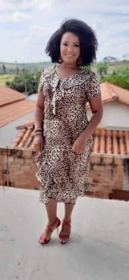 Vestido Midi Moda Evangélica Estampa De Onça