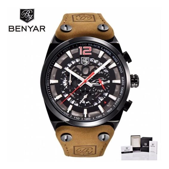 Relógio Executivo Benyar Original Militar Aviador Black Luxo
