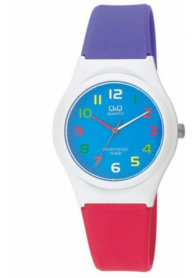 Relógio Infantil Feminino Roxo Branco Vermelho Q&q Silicone