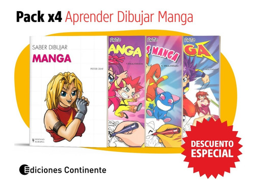 Pack Manga 4 Libros De Aprender Dibujar Manga Oferta 25% Dto