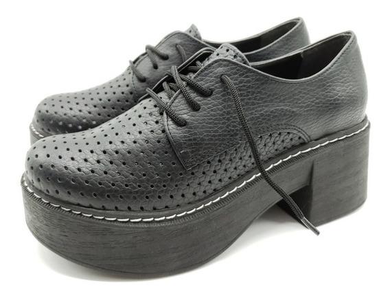Zapato Acordonado Cuero Base Plataforma Primavera Moda 1844