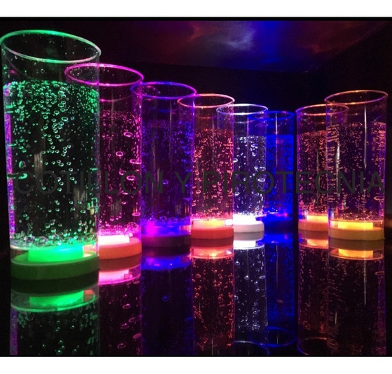 5 Vasos Led Luminosos 8 Colores Diferentes 3 Led C/vaso