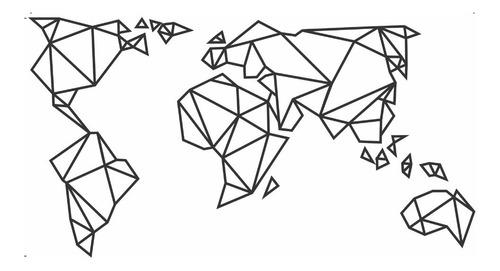 Imagen 1 de 5 de Vinil Decorativo Mapamundi Geométrico Moderno Vinilo