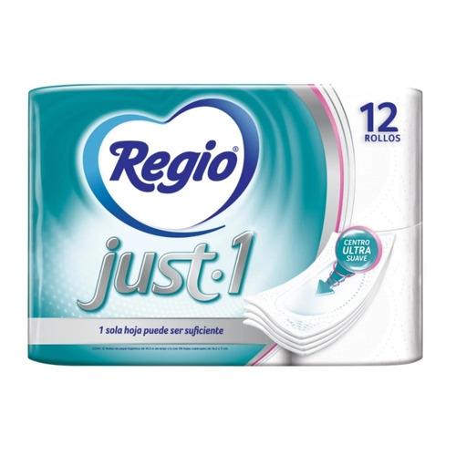 Imagen 1 de 1 de Papel higiénico Regio Just -1 hoja simple de12u