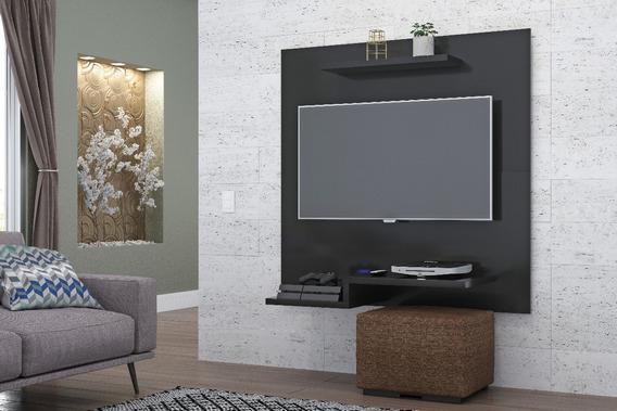 Painel Sala Jet Plus Preto Fosco Para Tv Até 32 Polegadas