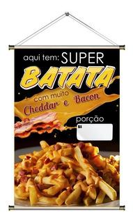 Banner De Batata Frita Com Cheddar E Bacon - 60x90cm
