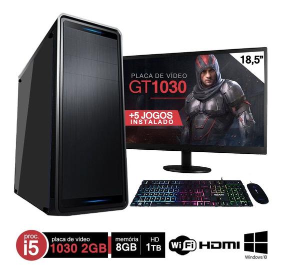 Pc Gamer Completo I5 8gb Hd 1000gb Gt 1030 Wifi Hdmi C/ Monitor Win10