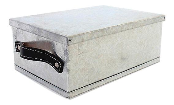 Caja Canasto Organizador Manija Cuero Acero Inox Grande 6c