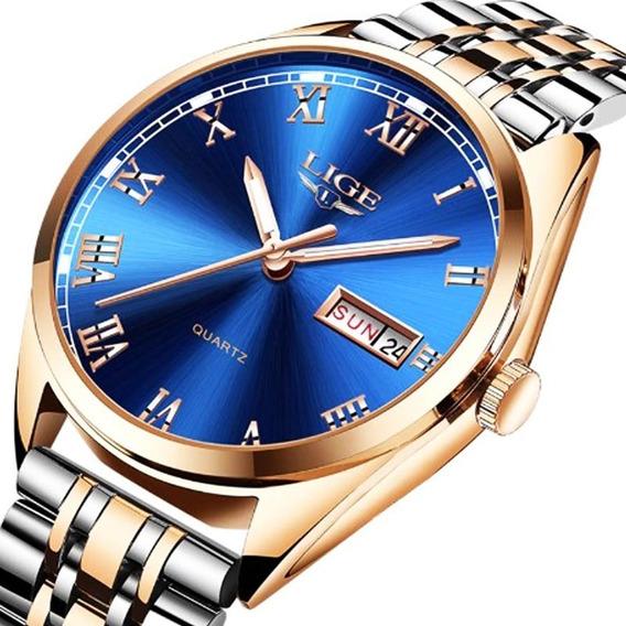 Relógio Lige 9904 De Luxo Quartzo Homens E Mulheres Original