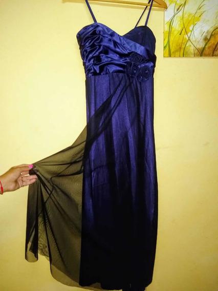 Vestido Fiesta Talle 4 Razo Y Tull Azul Noche