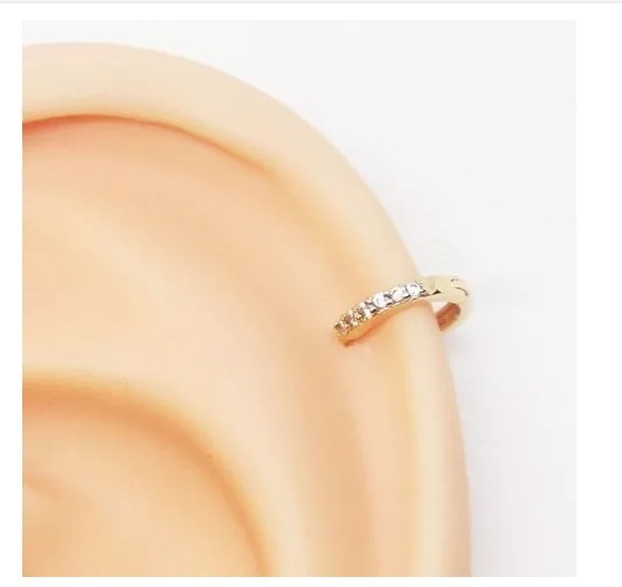Piercing Helix Clicker Delicada Fininha Folheado Ouro 6mm