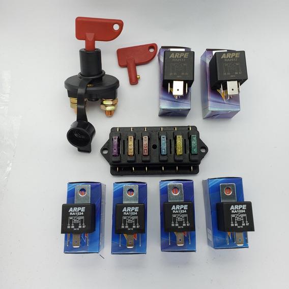 Central Elétrica Auto Porta Fusível + Chave Geral + 6 Reles