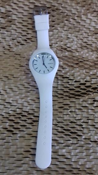 Relógio De Pulso Branco Silicone - Cod. 00338