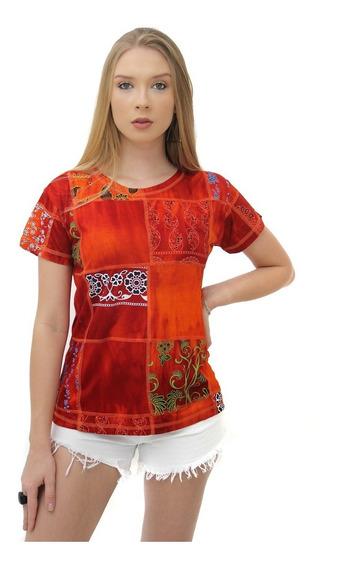 Camiseta Baby Look Patchwork Tie Dye De Viscose