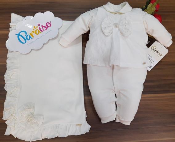 Saida Maternidade Luxo Paraiso Bebê Menina Suedini Macacao Enxoval Batizado Cod 9068