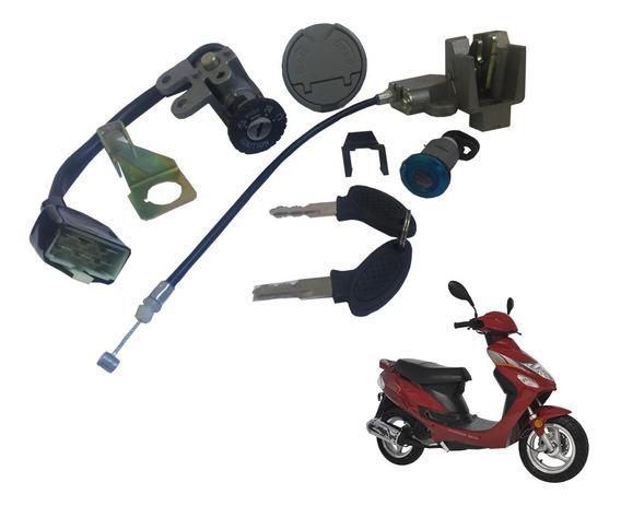 Conjunto De Ignição Com Travas Shineray Scooter Bike 50 Cc