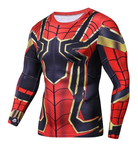 Playera Gym Lycra Iron Spiderman Homecoming Capitan America Spider Far From Home Lejos De Casa Endgame Infinity War