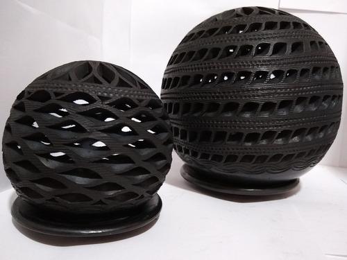 Imagen 1 de 6 de Esferas Redondas Para Velas Barro Negro  Oaxaca Artesanías