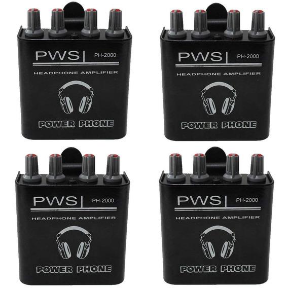 Kit Amplificador De Fone De Ouvido Ph-2000 2w 2 Canais 4 Und
