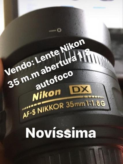 Lente Nikon 35 Mm Abertura 1.8 Autofoco + Parasol Muito Novo