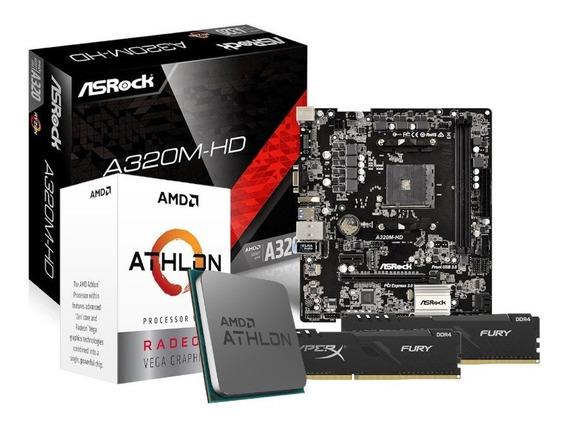 Kit Processador Athlon 3000g Asrock A320m-hd 2x4gb Hx Fury
