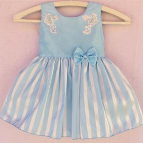 Vestido Infantil Tafeta Listrado Com Perola Bebe Menina