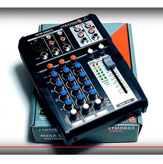 Mesa Som 12v Stm0803 3 Canais 4 Eq Band