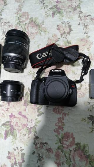Câmera Canon T3i Seminova+2 Lentes+flash+bolsa+2 Baterias...