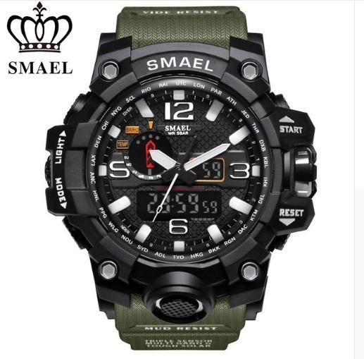 Relogio Masculino Militar Smael Schok Dual Time Led Calendario Caixa 55mm Prova D