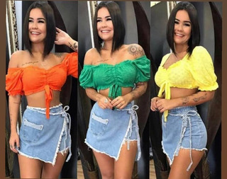Short Saia Jeans Short Saia Feminino