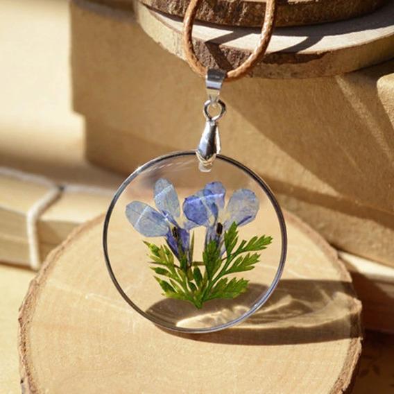 Hermoso Collar Cuerda Flor Natural Encapsulada Cristal