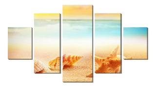 Kit Quadro Decorativo 5 Partes Estrela Do Mar E Concha Areia