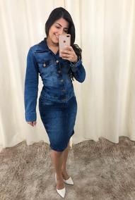 Conjuntos Femininos Evangélico Saia Blazer Jeans Com Botões
