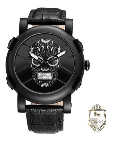Reloj Calavera Sugar Skull Negro Steel Mexico Craneo Acero