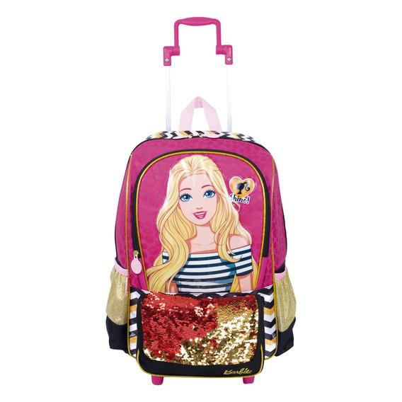 Mochila De Rodinha Infantil Menina Barbie 19z 65199 Rosa