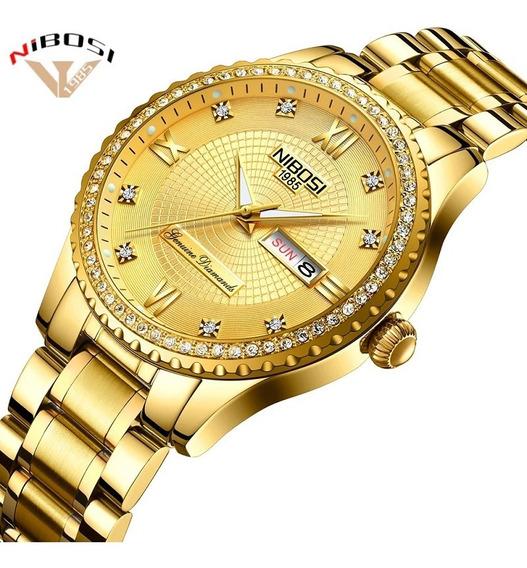 Relógio Nibosi Feminino Quartz Fino Luxo Diamante Dourado
