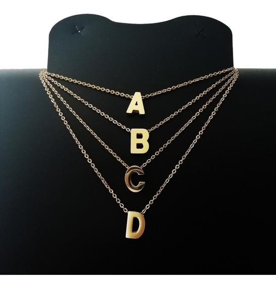 Collar Dije Letra Inicial Acero Inoxidable Dorado