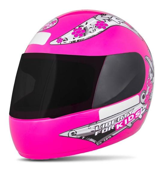 Capacete Moto Feminino Infantil Liberty 4 Viseira Fumê Rosa