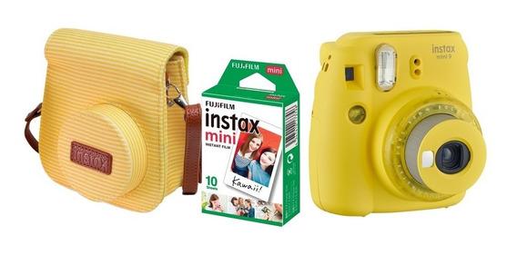 Kit Câmera Instax Mini 9 Amarela Câmera, Bolsa + 10 Fotos