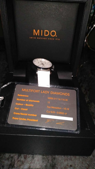 Reloj Dama Mido Multifort Lady Quartz Diamonds Nuevo