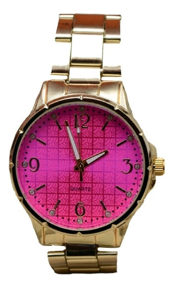 Relógio Quartz Em Metal Inoxidável Feminino - Ouro Com Rosa