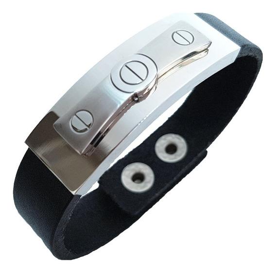Bracelete Pulseira Masculina Couro E Aço Preta 15 Mm