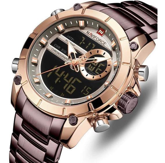 Relógio Naviforce 9163 Marrom Casual Analógico Digital