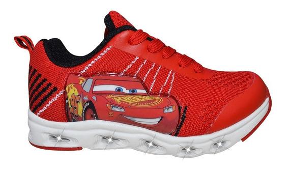 Zapatillas Addnice Con Luz Cars Flex Extreme Roja Niño Cordon