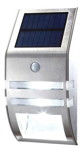 Aplique Led Solar Acero Inoxidable Fotocélula + Sensor 4 + 1