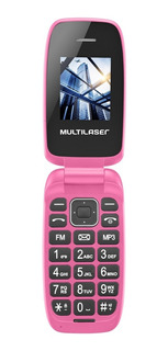Celular Flip Up Rosa Dual Chip Mp3 P9023 Multilaser