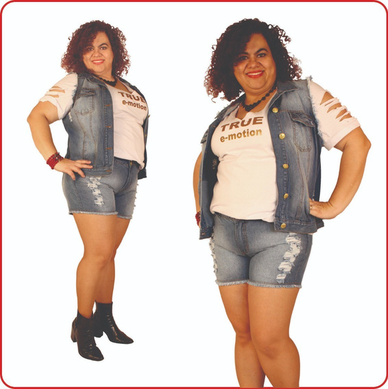 Shorts Jeans Plus Size Lithiun Light Destroyed 44 Ao 54