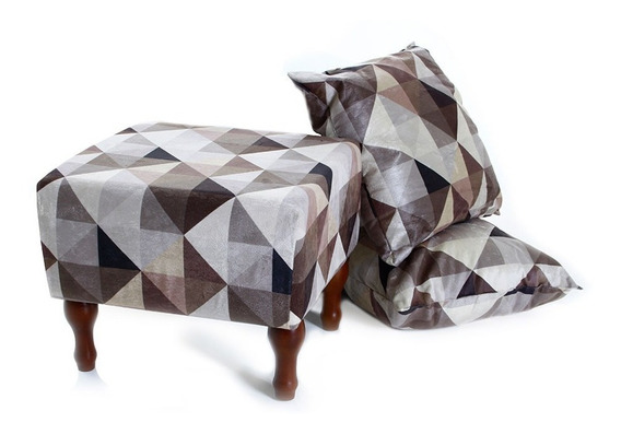 Kit Puff Banqueta 40cm + 2 Almofadas Decorativas Geometrico